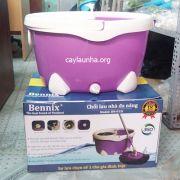 Cây lau nhà Bennix 015i thùng nước to, bông lau khô sạch tuyệt đối